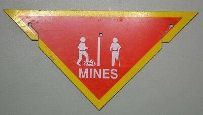 Genuine British Army Issue Mines Warning Sign Mine Field