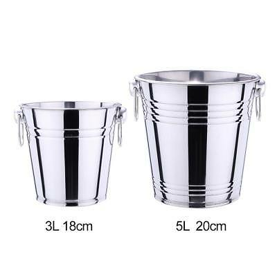 3L/5L Silver Stainless Steel Ice Punch Bucket Wine Beer Cooler Champagne Party