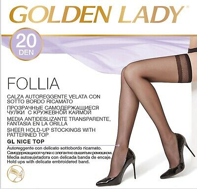 25476adf1 HOLD-UPS VEILED 20 Denier Flounce Silicone Lace Golden Lady Sensual ...