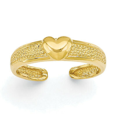 14k Yellow Gold Centered Heart Adjustable Toe Ring - 1.16 Grams