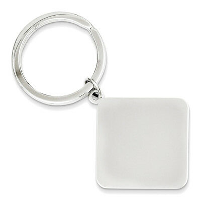 925 Sterling Silver Square Key Chain - New