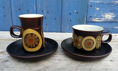 Vintage Denby Arabesque Tea and Coffee Cups and Saucers - various