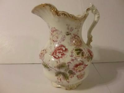 Rose La Belle Wash stand Antique Pitcher Wheeling Pottery Transfer 1879  mark