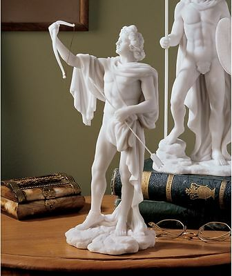 "11.5"" Classical Greek God of Archery & Divination Apollo Bonded Marble Statue"