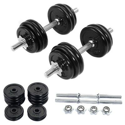 66lb Weight Dumbbell Set Adjustable Cap Barbell Plates Body Workout Tool Black