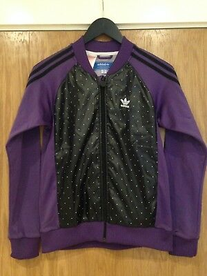 Adidas Girls 164cm Height Purple & Black Poly & Nylon Mix Jacket