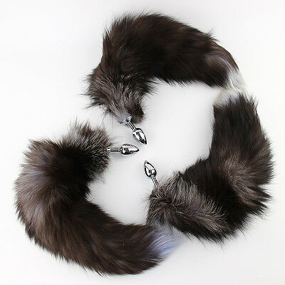 Funny False Fox Tail Mit Stainless Steel Plug Romance Game Toy Black and Silver`