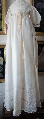 Antique Baby  Christening Gown/ Silk/lace/embroidery