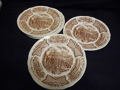 "Vintage Fair Winds 7"" Plates Historical Scenes of Chinese Export America Set 6"