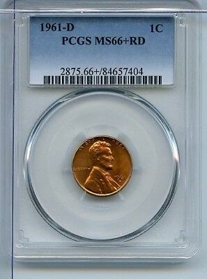 1961-D PCGS Certified MS66+RD Red Lincoln Cent Penny 1C Coin Uncirculated MC0107