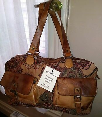 NWT $300 Wilsons Vintage Leather Tapestry Multi Color duffle bag made in Italy