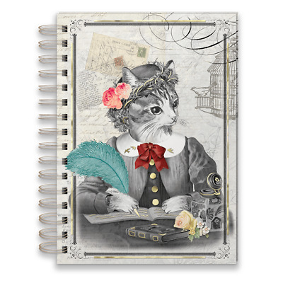 Punch Studio E8 Stationery 6x8.5in Spiral Bound Lined Journal - Lady Cat 45970