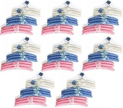24 x Clothes Coat Hanger Hangers Assorted Colored Satin Fabric cover Padded New