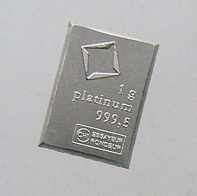 New 1 Gram Valcambi Suisse Platinum Bar .9995 Pure