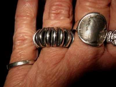 Vtg Big STERLING SILVER RING BAND Mexican ancient ALIEN mayan Sz 7.5 Mexico 925