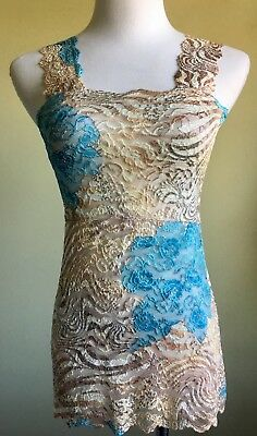 f3a349d9ca Ally Rose Lace Camisole Top Size S Women s Camisole Tan Blue Animal Print  Strap