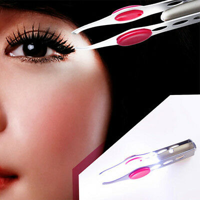 Stainless Steel Make Up Eyelash Eyebrow Hair Removal Tweezer With LED Light A/