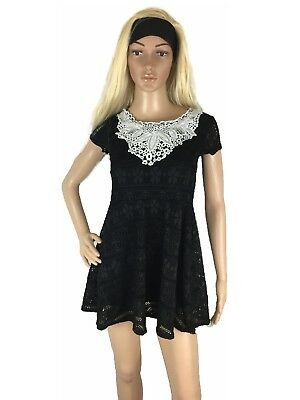 Womens Dress Lace Up A Line Knit Fit & Flare Flowy Pinup Mesh Mini Embroidered