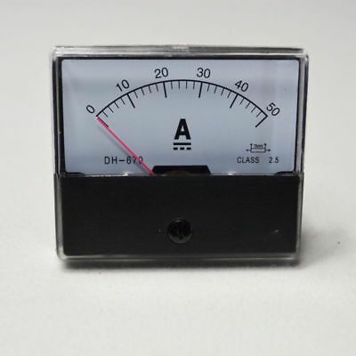 UPDATED DC 0-50A Current Ammeter Analog Amp Panel Meter TOP NEW Class 2.5