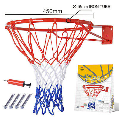 Pro Size Wall Mounted Basketball Hoop Ring Goal Net Rim Dunk Shooting Outdoor