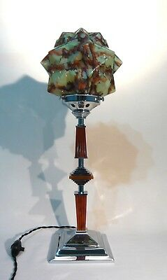 Art Deco Machine Age Catalin Phenolic Bakelite & Chrome Lamp Czech Star Shade