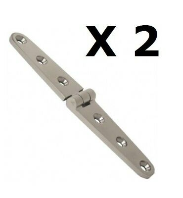 2 x Strap Door Hinge 160x30mm 316 Marine Stainless Steel Deck Boat DIY