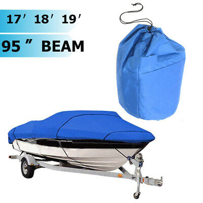 Boat Cover Heavy Duty Trailerable 17' 18' 19' beam-95 210D Blue Rectangle US