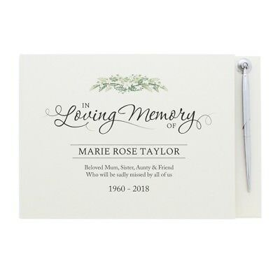 Personalised In Loving Memory Guest Book & Pen Memorials And Remembrance