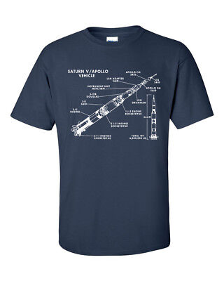 Not Just Nerds Saturn V Rocket Stages Apollo Moon Landing Mission 5 T-Shirt
