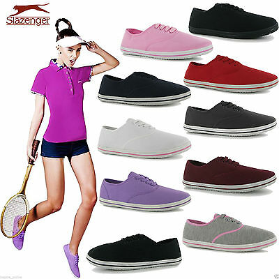 Ladies Slazenger Trainers Lace Up Fitness Walking Running Girls Canvas Shoes New