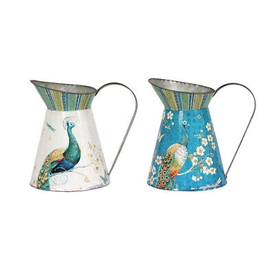 Set of 2 Vintage French Vintage Style Metal Jug Pitcher Vase Peacock Shabby Chic