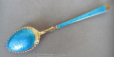 David-Andersen Norway Sterling Silver Spoon Blue Enamel Gilt Russian Market #2