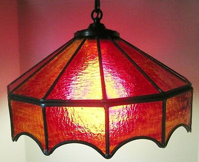Vintage Red STAINED GLASS Leaded Glass Tiffany Style Light Hanging Lamp-WORKS!