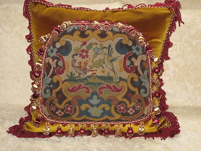 STRIKING 19TH c NEEDLEPOINT TAPESTRY CHIPPENDALE BIRD PILLOW