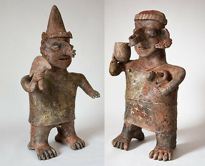 Spectacular Nayarit Precolumbian Terracotta/Polychrome Large Standing Pair