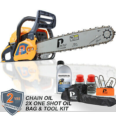 "Petrol Chainsaw 20"" 62cc Hyundai Engine P6220C Inc 3 Cans 2-stroke Chain Oil"