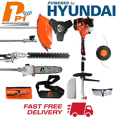 5 in 1 Hedge Trimmer Multi Tool 52cc Petrol Strimmer Brushcutter Chainsaw P1PE