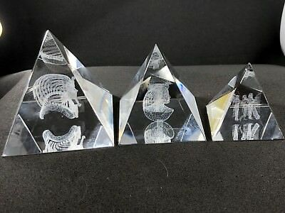**Rare** 3 Egyptian Crystal Pyramids with 3D laser engraving King Tut, Cleopatra