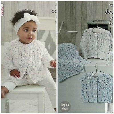 KNITTING PATTERN Baby Cable Cardigans Blanket & Hat Cottonsoft DK King Cole 5204