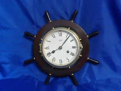 Vtg Aug. Schatz & Sohne Ship Nautical Bell Clock With Key - Tested & Working!