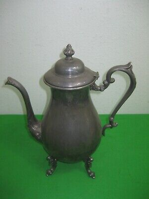 Vintage Antique Silver On Copper Sheridan Metal Coffee Teapot 4 Footed Lid