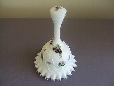 Vintage Fenton Milk Glass Orchid Flower Bell Signed With Label Nancy Gribble