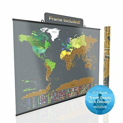 Large silver scratchable off world poster travel map with us large map scratch off world poster travel tracker wcountry flag us state framed gumiabroncs Gallery