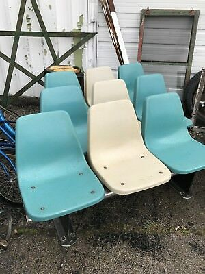 Vintage AMF 1960s Bowling Alley Chair Fiberglass Shell 3 Seater w/ Base Retro