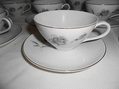 Wentworth China Twilight Rose Cups and Saucers #8907 Platinum Roses 20pcs Japan
