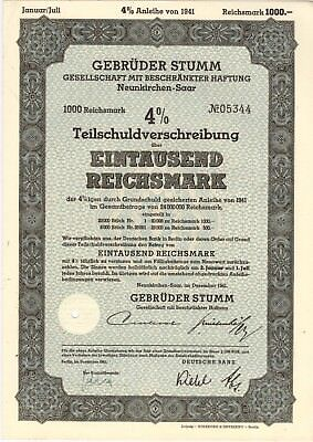 1941 WWII German 1000 Reichsmark Gebruder Stumm Bond