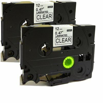 2PK Black on Clear Label Tape Compatible for Brother TZ 131 TZe 131 12mm P-Touch