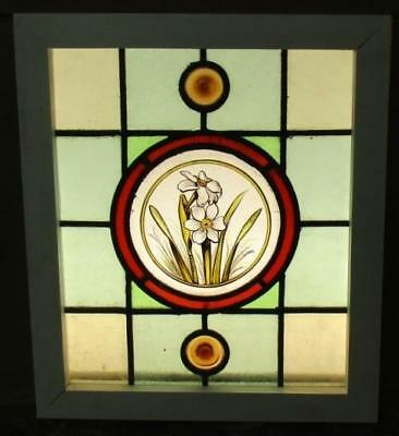"""OLD ENGLISH LEADED STAINED GLASS WINDOW Perfect Handpainted Flowers 16"""" x 18.75"""""""