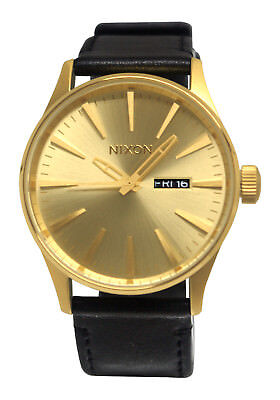 Nixon A105510 Sentry Leather Gold Analog Day Date Dial Black Band Men's Watch