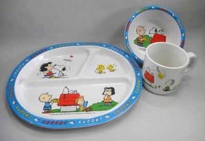 LOT vintage 3pc SNOOPY MELAMINE CUP, CEREAL BOWL,DINNER PLATE woodstock c.brown